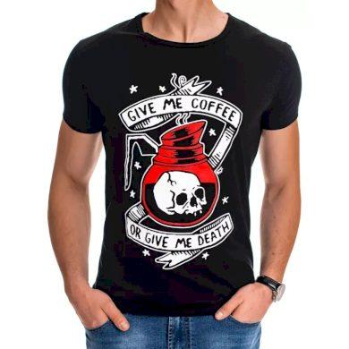 Pánské tričko s potiskem černé COFFEE