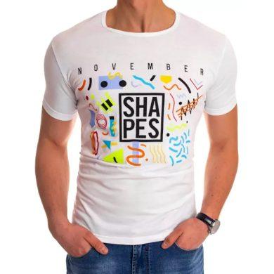 Pánské tričko s potiskem bílé SHAPES
