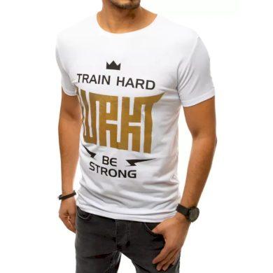 Pánské tričko s potiskem bílé TRAIN