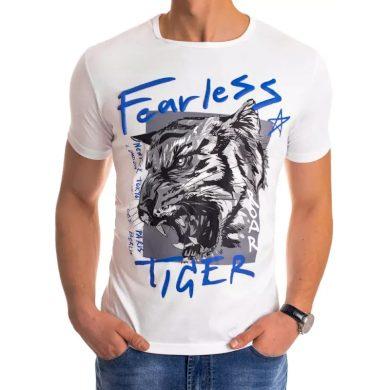 Pánské tričko s potiskem bílé FEARLESS