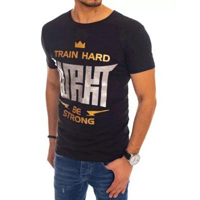 Pánské tričko s potiskem černé TRAIN