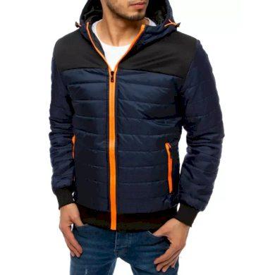 Pánská bunda jarní prošívaná s kapucí modrá BOLD