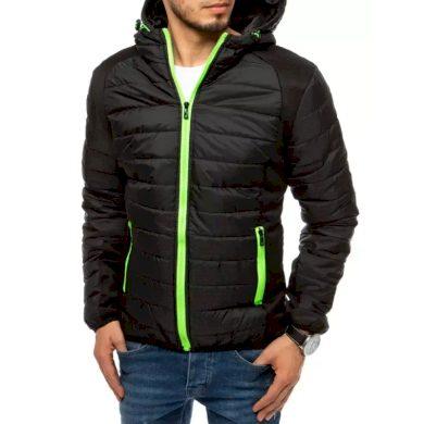Pánská jarní bunda na zip s kapucí černá ADVANCE