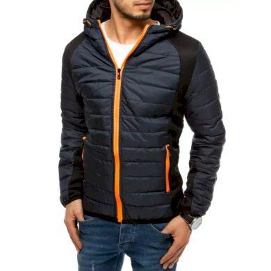 Pánská jarní bunda na zip s kapucí modrá ADVANCE