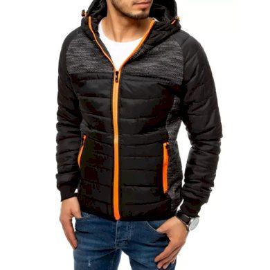 Pánská jarní bunda na zip s kapucí černá PRO