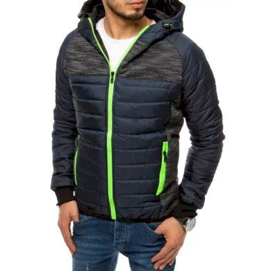 Pánská jarní bunda na zip s kapucí modrá PRO