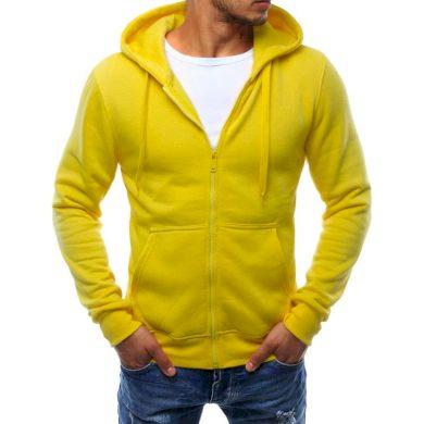 Pánská mikina s kapucí rozepínací žlutá