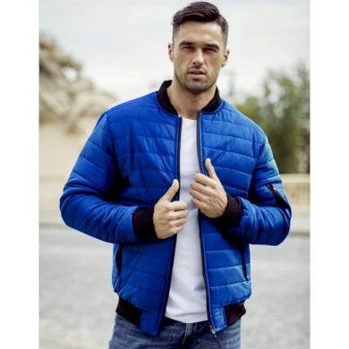 Pánská bunda prošívaná bomber jacket modrá