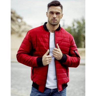 Pánská bunda prošívaná bomber jacket červená