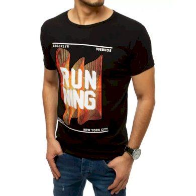 Pánské tričko s potiskem černé RUNNING