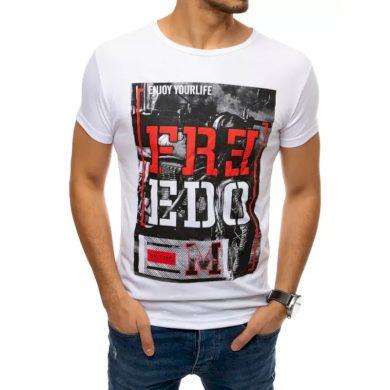 Pánské tričko s potiskem bílé FREEDOM