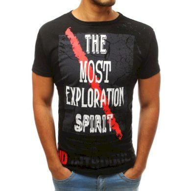 Pánské tričko s potiskem černé RX3763