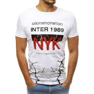 Pánské tričko s potiskem bílé RX3764