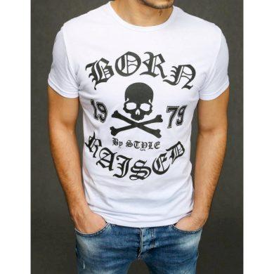 Pánské tričko s potiskem bílé RX3937