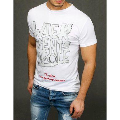 Pánské tričko s potiskem bílé RX3887
