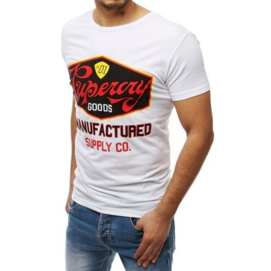 Pánská tričko s potiskem bílé RX3971