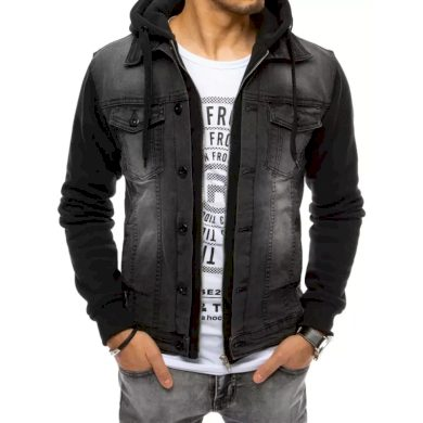 Pánská bunda riflová s kapucí černá