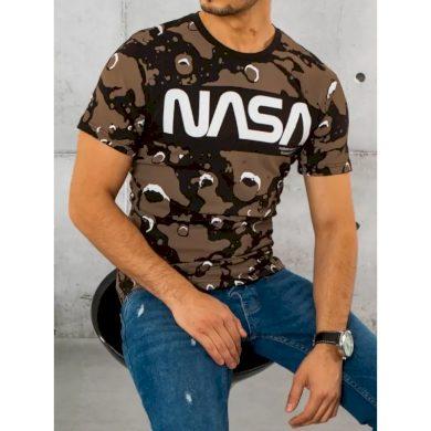 Pánské tričko s potiskem hnědé NASA