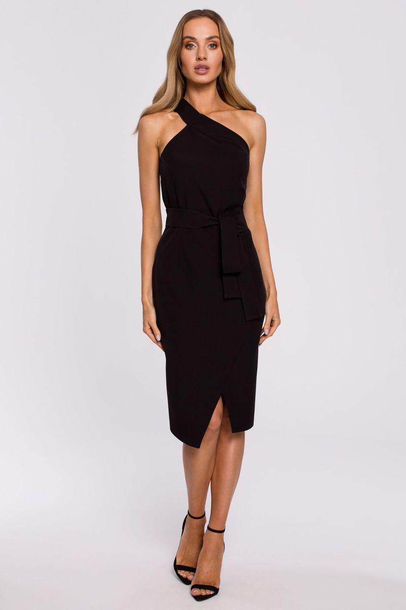 Šaty na jedno rameno MOE M572 černé