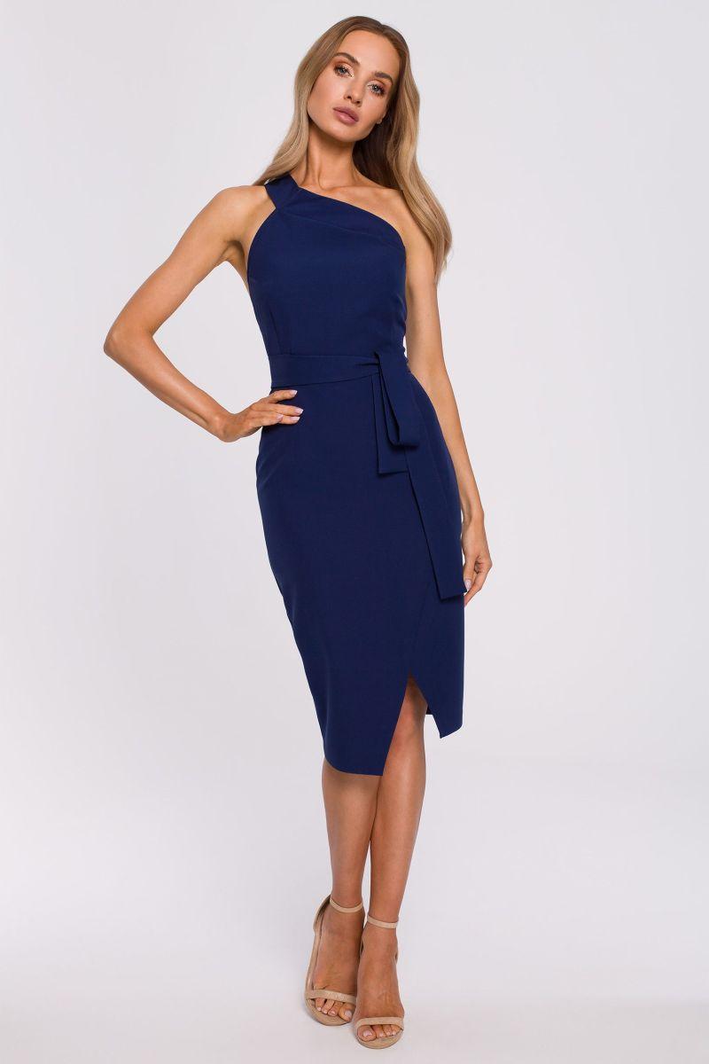 Šaty na jedno rameno MOE M572 modré