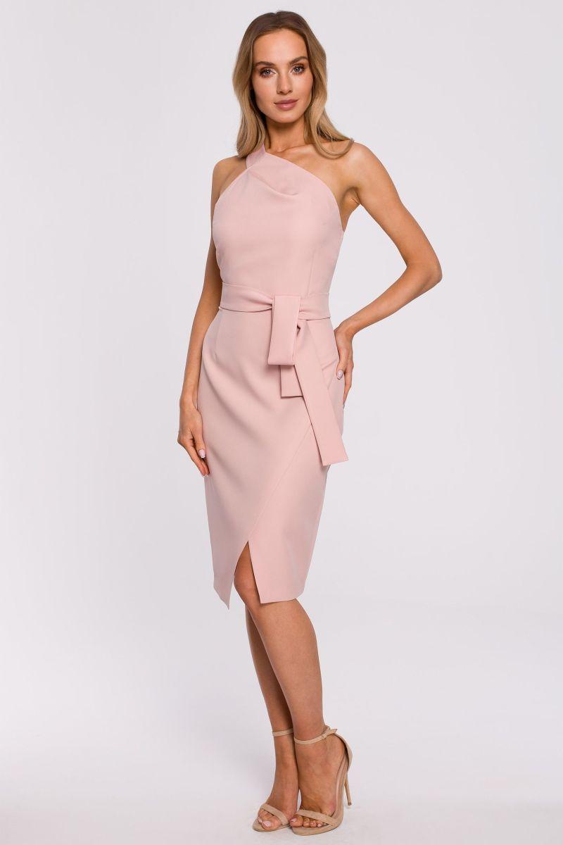 Šaty na jedno rameno MOE M572 růžové