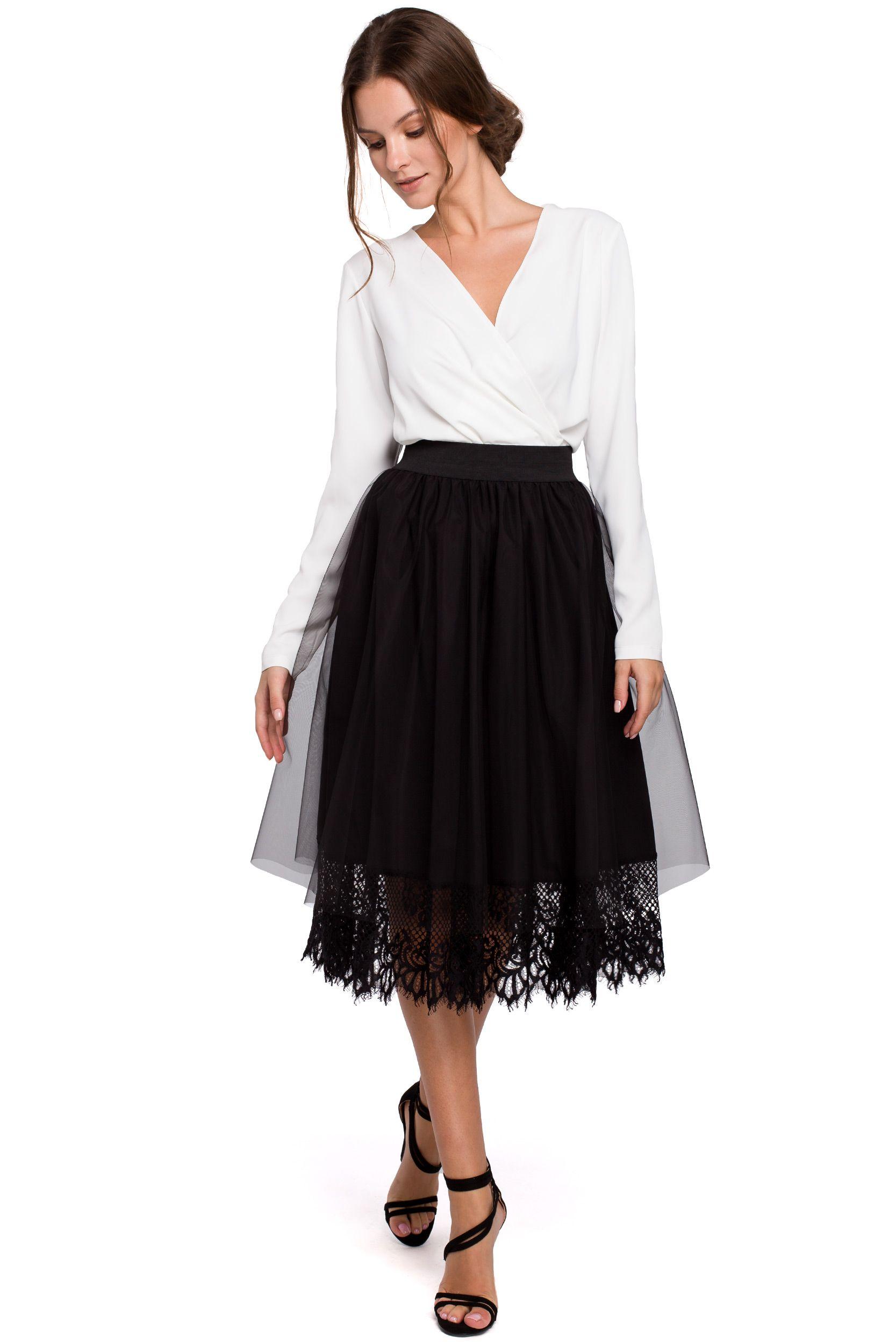 Tulle sukně s krajkou Makover K040 černá