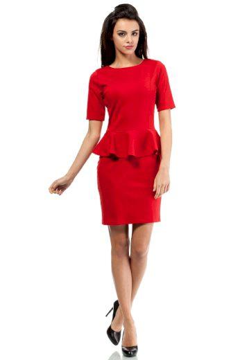 Koktejlové peplum šaty MOE M014 červené