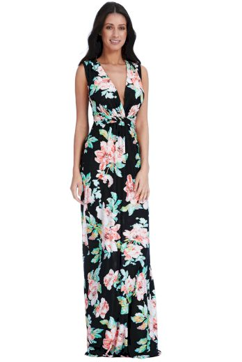 Dlouhé společenské šaty s květy