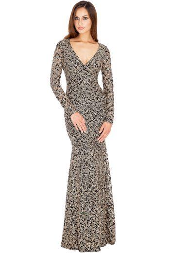 Luxusní dlouhé černé společenské šaty se zlatými květy