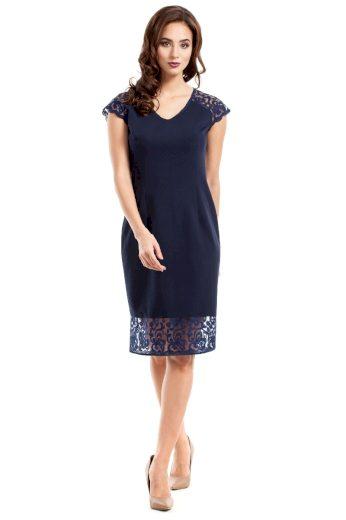 Společenské šaty MOE M273 modré