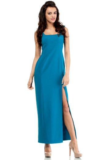 Dlouhé elegantní šaty MOE M202 tyrkysové