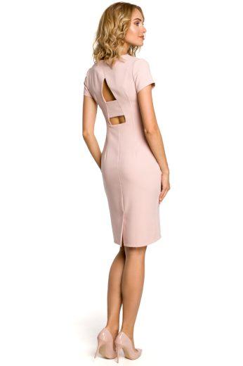 Dámské elegantní šaty MOE M186 růžové