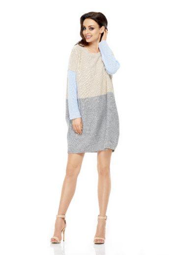 Dámské pletené šaty Lemoniade LS203 modrošedobéžové