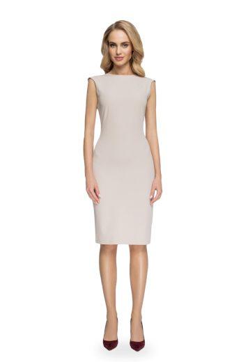 Elegantní pouzdrové šaty Style S080 béžové