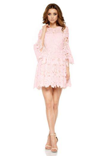 Společenské krajkové šaty Lemoniade L262 růžové