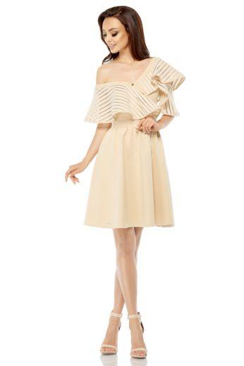 Společenské šaty s volánem Lemoniade L246 béžové
