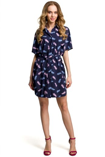 Dámské košilové šaty MOE M385 modré s pírky