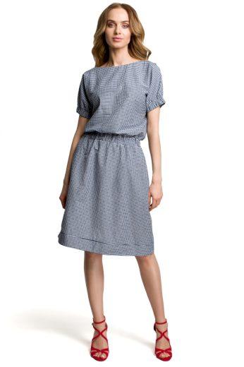 Pohodlné letní šaty MOE M376 modrá vichy kostka