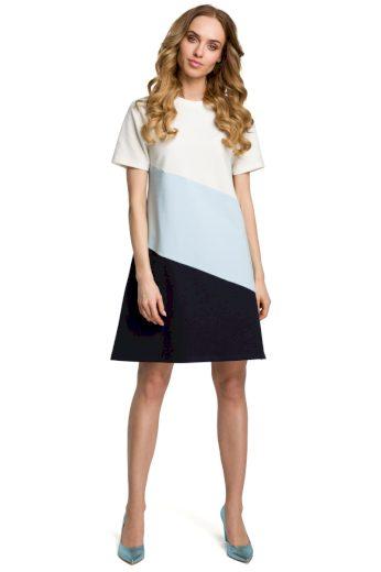 Elegantní letní šaty MOE M373 bílomodročerné