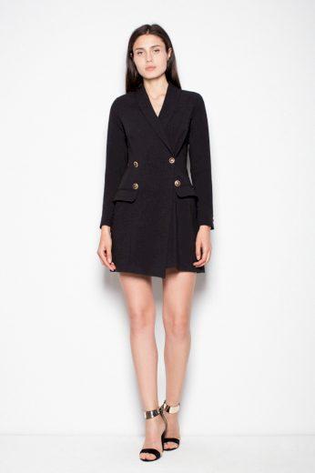 Elegantní sakové šaty Venaton Vt082 černé
