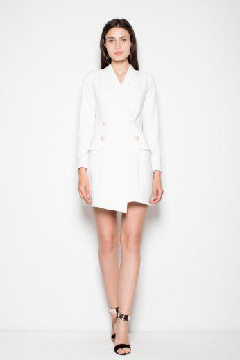 Elegantní sakové šaty Venaton Vt082 bílé