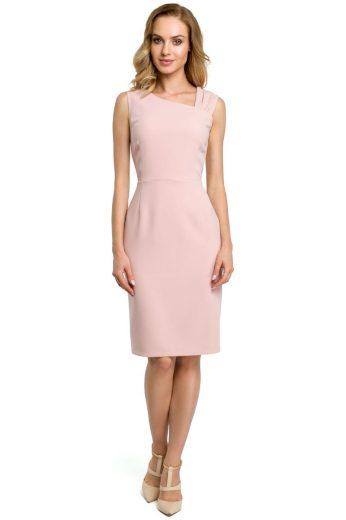 Elegantní pouzdrové šaty MOE 397 růžové