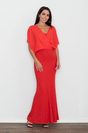 Dlouhé společenské šaty Figl M577 červené