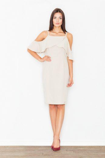 Romantické šaty s volnými rameny Figl M478 béžové