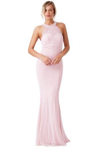 Růžové plesové šaty s perličkami