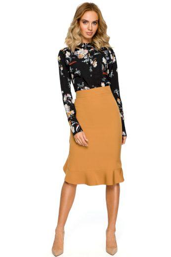 Pouzdrová sukně s volánem MOE M407 skořicová
