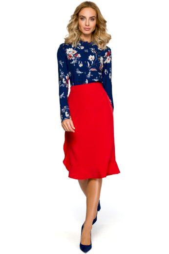 Pouzdrová sukně s volánem MOE M407 červená