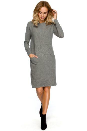 Jednoduché sportovní šaty MOE M404 šedé