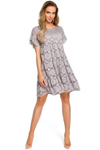 Krajkové společenské šaty MOE M430 šedé