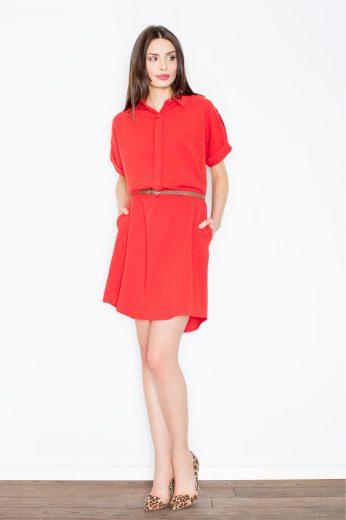 Košilové minišaty Figl M442 červené